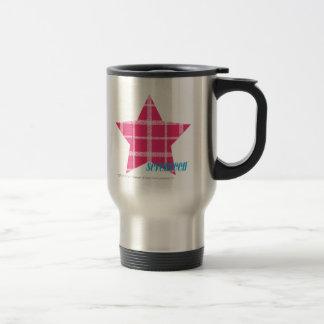 Plaid Magenta 3 Travel Mug