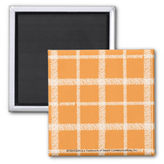 Plaid Orange Square Magnet