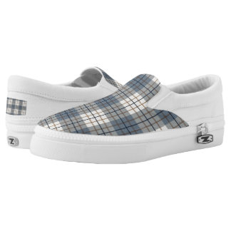 Plaid Pattern Blues Brown Cream Printed Shoes