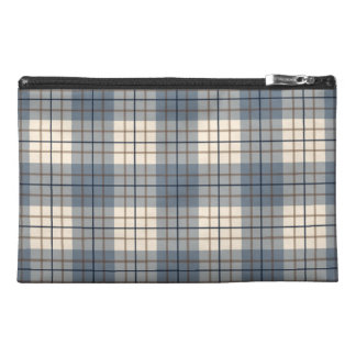 Plaid Pattern Blues Brown Cream Travel Accessories Bags