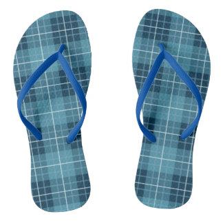 Plaid Pattern Blues Flip Flops