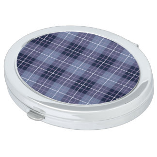 Plaid Pattern Blues & Purples Compact Mirror