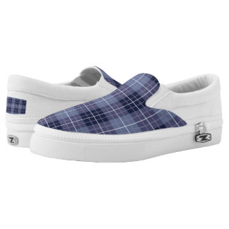 Plaid Pattern Blues & Purples Printed Shoes