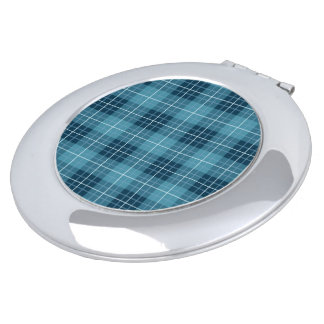 Plaid Pattern Blues Travel Mirrors