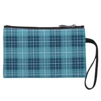 Plaid Pattern Blues Wristlet