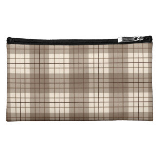 Plaid Pattern Browns & Cream Makeup Bags