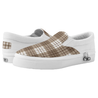 Plaid Pattern Browns & Cream Slip-On Shoes