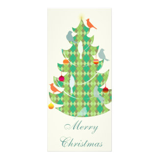 Plaid Pattern Christmas Tree And Birds Full Colour Rack Card