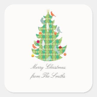 Plaid Pattern Christmas Tree Birds Personalized