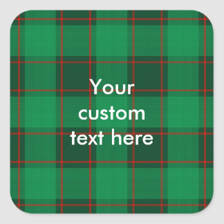 Plaid Pattern - Green and Red Square Sticker