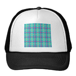 Plaid-Pattern-Pink-Blue-Background Trucker Hats