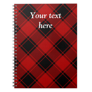 Plaid Pattern - Red and Black Spiral Notebook