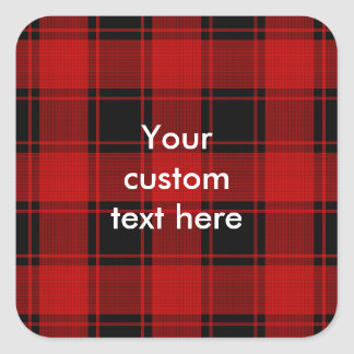 Plaid Pattern - Red and Black Square Sticker