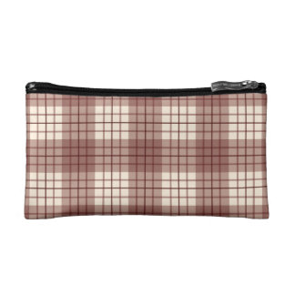Plaid Pattern Reds & Cream Cosmetic Bags