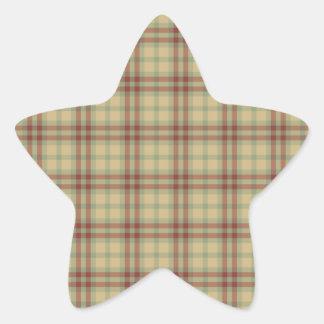 Plaid Pattern Star Sticker