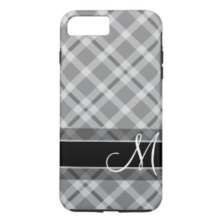 Plaid Pattern with Monogram - black white gray iPhone 8 Plus/7 Plus Case