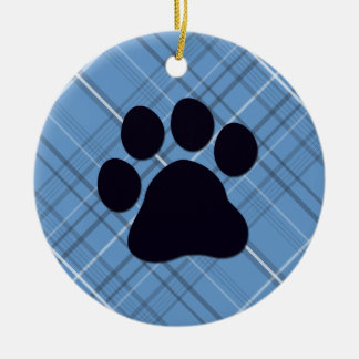 Plaid Paw Print Christmas Ornament
