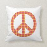 Plaid Peace Sign Throw Pillow