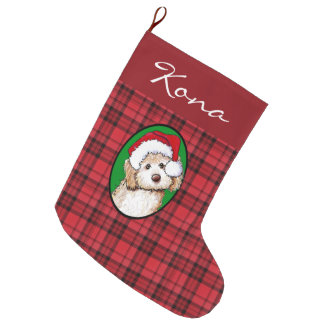 Plaid Personalised Doodle Dog Christmas Stocking