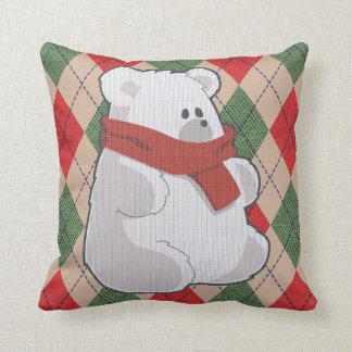 Plaid Polar Bear Ugly Christmas Sweater Throw Pillow