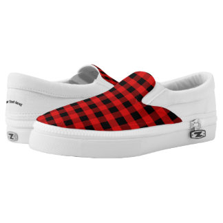 Plaid Red Black Checked Checkered Slip-On Shoes