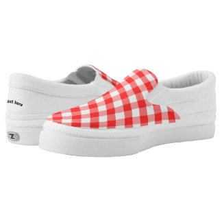 Plaid Red White Slip On Shoes
