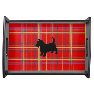 Plaid,red with Scottish Terrier dog Serving Trays. Serving Tray