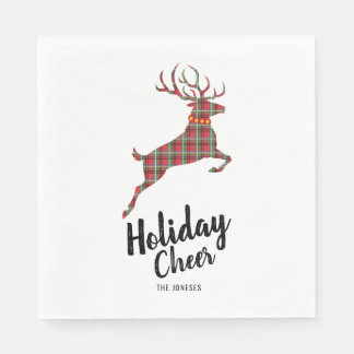 Plaid Reindeer Holiday Cheer Paper Napkin