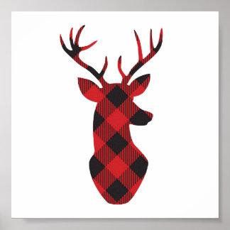 Plaid reindeer holiday wall art