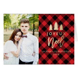 Plaid Rouge Joyeux Noël | Carte De Noël Greeting Card