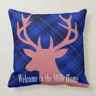 Plaid Rustic Deer Head Silhouette | mauve blue Throw Cushions