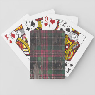 plaid rustic wood holiday christmas playing cards