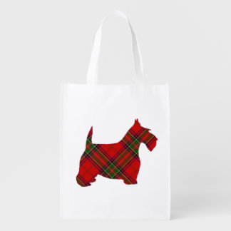 Plaid Scottie Dog Reusable Grocery Bag