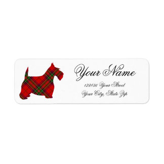 Plaid Scottie Personalize Return Address Label