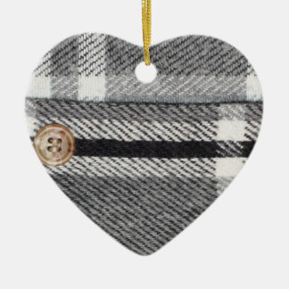 Plaid Shirt Ceramic Heart Decoration