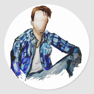 Plaid Shirt Man Classic Round Sticker