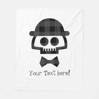 Plaid Skull with Bolo and Bowtie icon Fleece Blanket