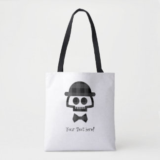 Plaid Skull with Bolo and Bowtie Tote Bag