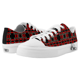 Plaid Sneaker Changeable Black Red Lace Up