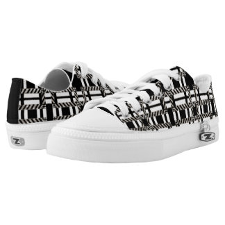 Plaid Sneaker Shoe Changeable Black White Lace Up