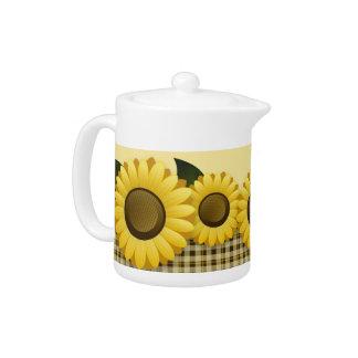 Plaid Sunflower Small Teapot