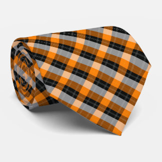 Plaid / tartan  pattern orange and black tie