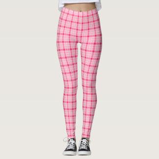 Plaid /tartan pattern pink leggings