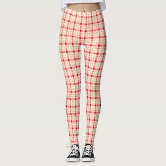 Plaid /tartan pattern red and beige leggings