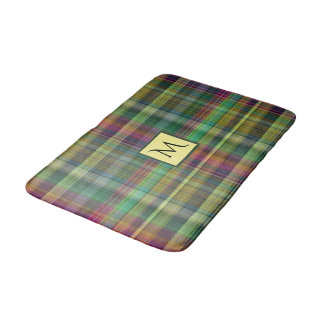 Plaid Tartan Yellow Pink Green Bath Mat