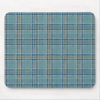 Plaid Teal Blue and Yellow Mouse Pad