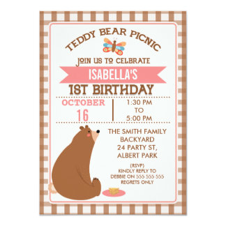 Plaid Teddy Bear Picnic 1st Birthday Invitation