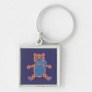 Plaid Teddy Silver-Colored Square Key Ring