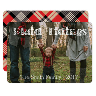 Plaid Tidings Tan Red BlackPlaid Back Holiday Card