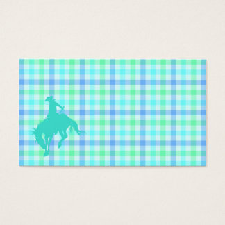 Plaid Turquoise Cowboy Business Card